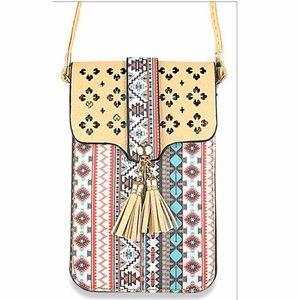 Cute Tribal Print Cellphone Crossbody Bag